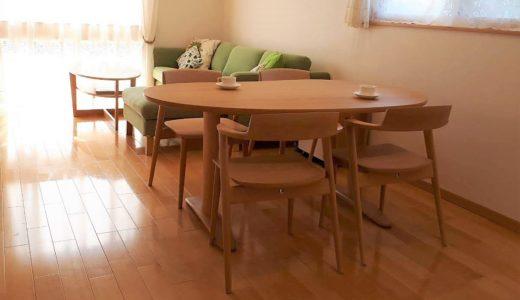 【飛騨産業の納品事例④】豆型テーブルは使いやすい!?ナチュラルな風合いのオイル塗装のSEOTOの椅子を納品させて頂きました